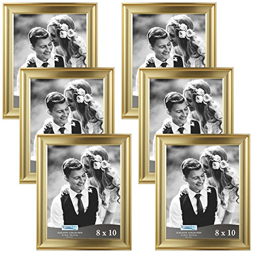 Icona Bay 8 by 10 Picture Frames (8x10, 6 Pack, Gold) Photo Frames, Wall Mount Hangers and Black Velvet Back, Table Top Easel, Landscape as 10x8 Picture Frames or Portrait as 8x10, Elegante Collection (Easel Gold Frames)