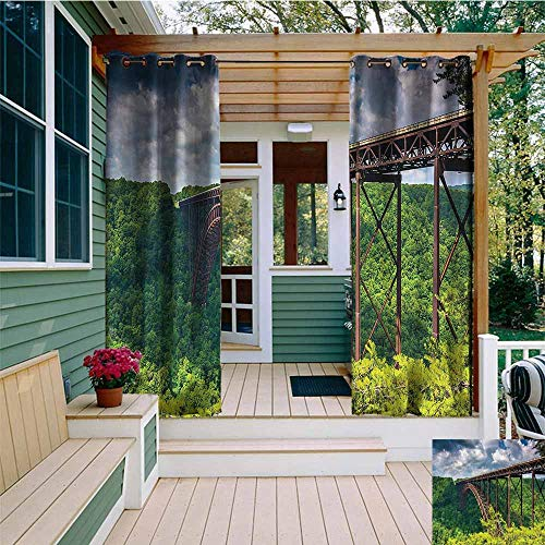 Beihai1Sun Outdoor Curtains,USA Canyon Rim Visitor Center Photo,for Patio/Front Porch,W84x96L