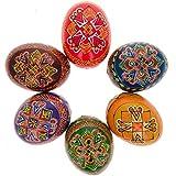 "2.5"" Set of 6 Hand Painted Wooden Ukrainian Easter Eggs"