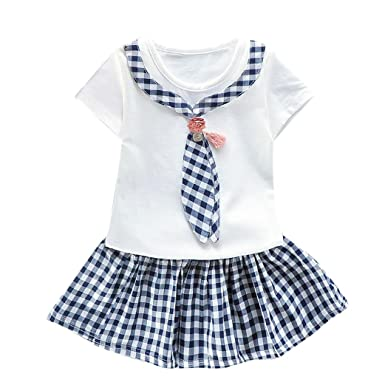 3515dcc97746 Bekleidung Longra Baby Mädchen Kleidung Kurzarm Karo Tops T-shirt+ Tutu Kleid  Sommer Kleider (
