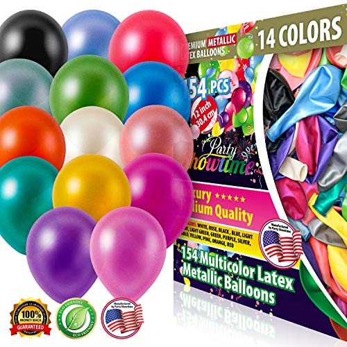 PartyShowtime Assorted Latex Balloons 12 inch Pack of 154 Multicolor Thick Latex Party Balloons for Helium or Air Use Ideal for Birthdays Weddings Graduation Ceremonies Bridal and Baby Shower -
