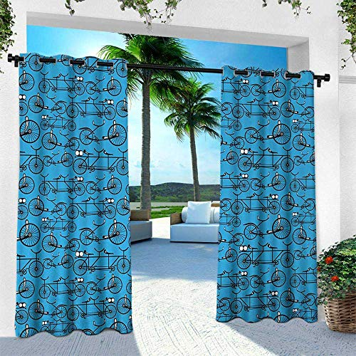 Hengshu Bicycle, Fashions Drape,Antique Cartoon Style Bikes on Blue Background Retro Pattern with Wheels, W96 x L108 Inch, Blue Black and White