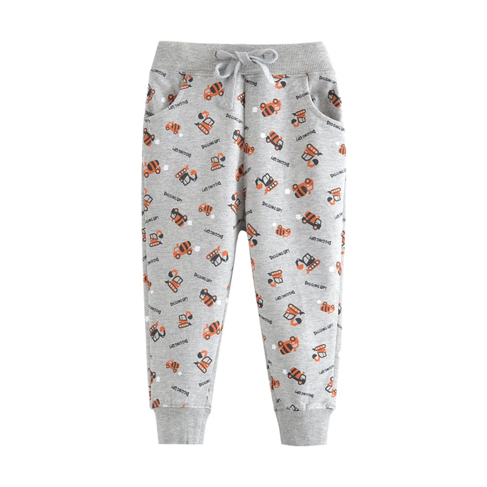 HUAER& Boys Print Car Pattern Cotton Pants Drawstring Elastic Sweatpants (3-4T(height95-100cm/37-38inch), Gray)