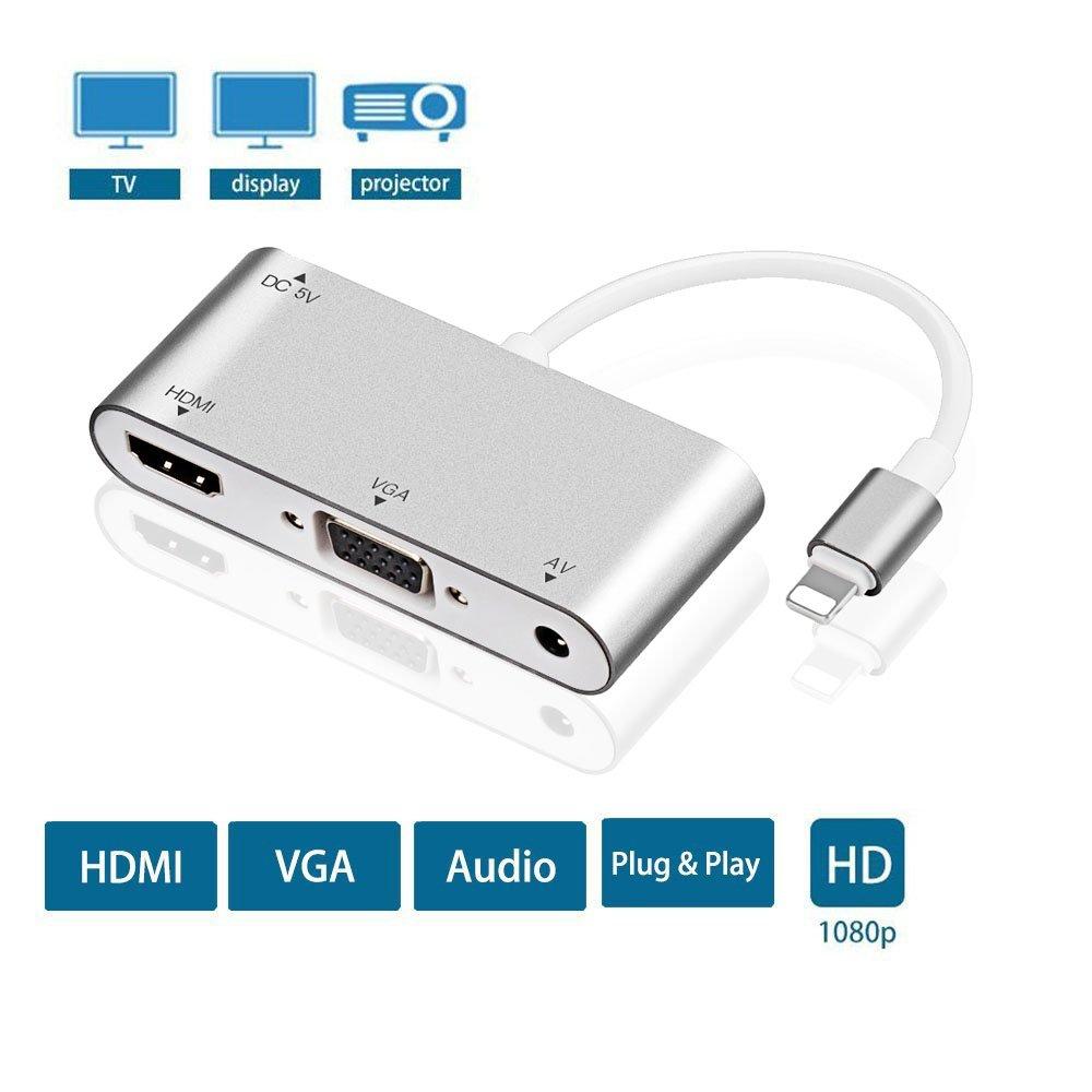 Lightning AV Adapter –Plug Play – HDMI, VGA AV iPhone, iPad iPod Models on HDTV