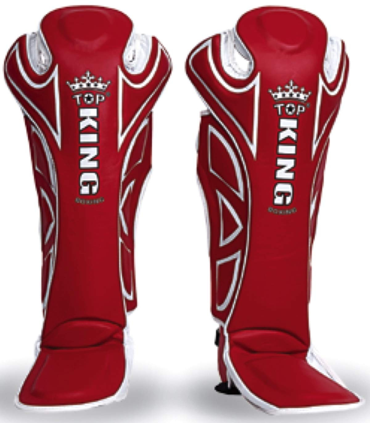 MMABLAST TOP King Professional Extreme SHIN Guards-Genuine Leather TKSGE-SL-RED