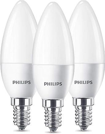 Philips 8718696761281 Pack de 3 bombillas LED Vela E14, 5.5 W ...