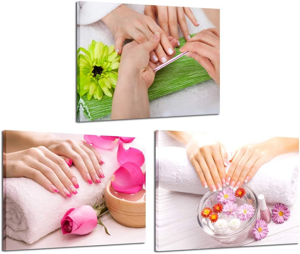 iKNOW FOTO 3 Piece Beauty Nail Salon Prints Canvas Wall Art Fashion Women Manicure Picture Wall Decor Pink Green Flowers Nail-Painting Hands Spa Poster Framed Artwork Ready to Hang 12x16inchx3pcs