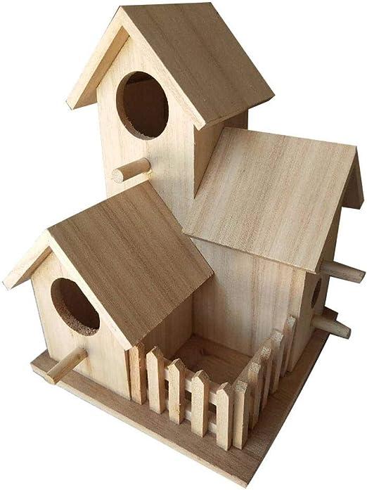 Casa De Madera Para Pájaros Con Jardín Jerarquía De Pájaros Colgantes Villa Alimentación Crianza Decoración Del Hogar Al Aire Libre, Madera Sin Terminar Lista Para Pintar O Decorar, 8.07 6.1 6.1in: Amazon.es: