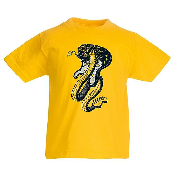 lepni.me Camiseta para Niño/Niña Guitarra eléctrica Serpiente Cobra, Amante del Rock and Roll.: Amazon.es: Ropa y accesorios