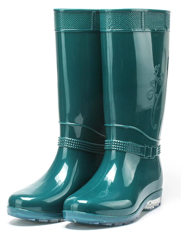 IDIFU Women's Antiskid Waterproof Low Chunky Heel Tall Wellies Rain Boots