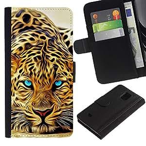 Samsung Galaxy S5 Mini / SM-G800 (Not For S5!!!) Modelo colorido cuero carpeta tirón caso cubierta piel Holster Funda protección - Animal Africa Predator Eyes