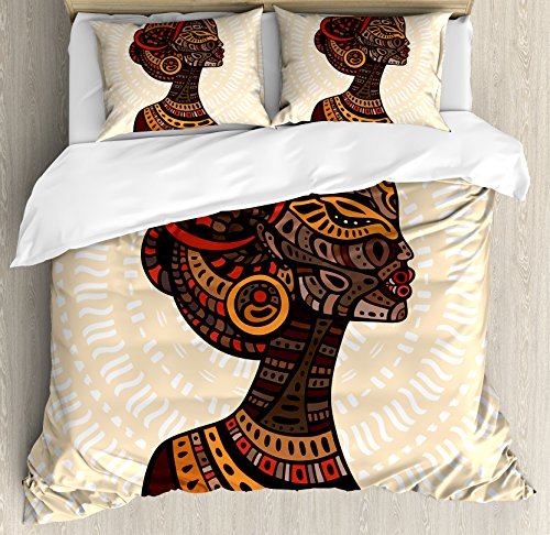 Ambesonne African Woman Duvet Cover Set Queen Size, Hand Drawn Ethnic Illustration Profile Portrait Tribal Ornaments Folk Art, Decorative 3 Piece Bedding Set with 2 Pillow Shams, (Folk Art Portraits)