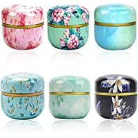 Amycute 6 Pack Mini Tea Storage Containers Tea Tins, Candle Coffee Herb Chocolate Sugar Spices Storage Canister,Metal…