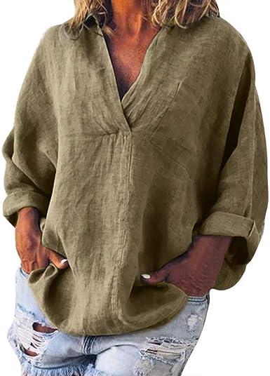 Blusa para Mujer Casual Color Sólido Cuello En V Camisa Tallas ...