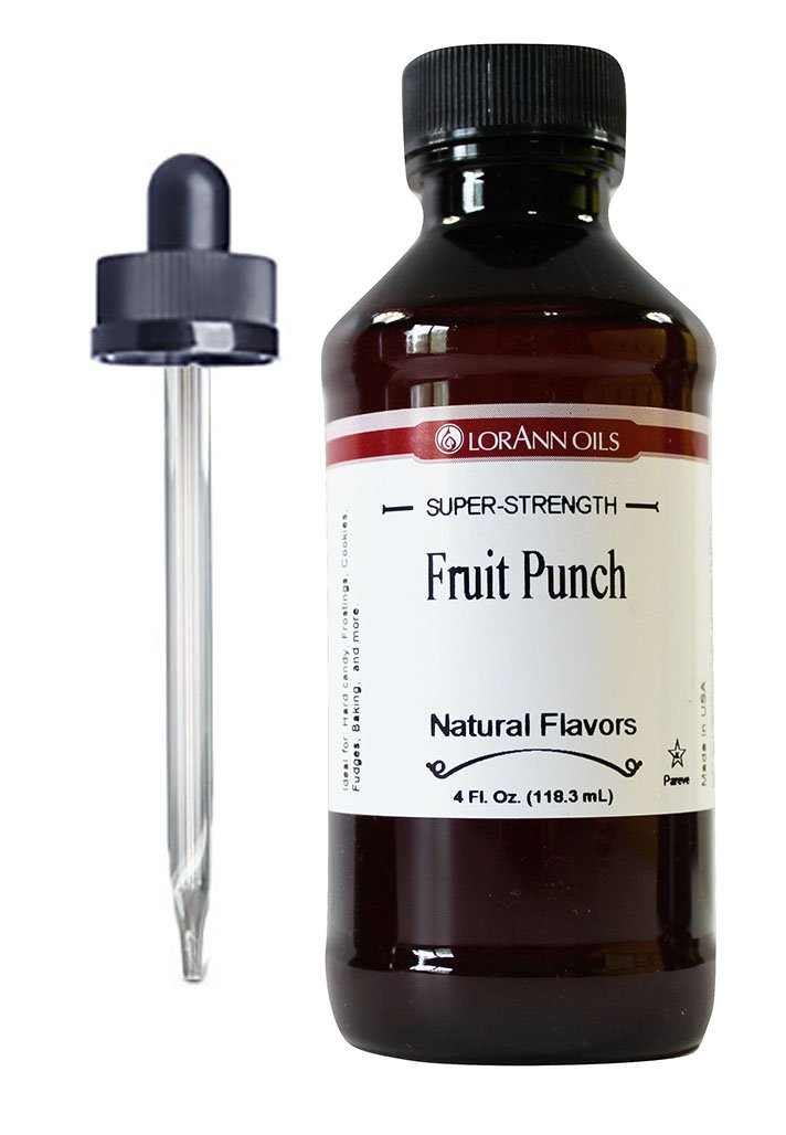 Fruit Punch Hard Candy Flavoring 4 oz, by LorAnn Oils, with Glass Child Resistant Dropper Bundle
