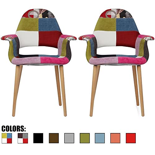 2xhome Set of 2, Patchwork Patterned Mid Century Modern Upholstered Fabric Organic Accent Living Room Dining Chair Armchair Set with Back Armrest Natural Wood Wooden Legs for Kitchen Bedroom Ann