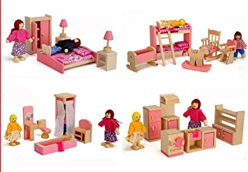 Lot 4 pcs Wooden Doll House Bathroom Set Miniature Furniture Kids Play Toy