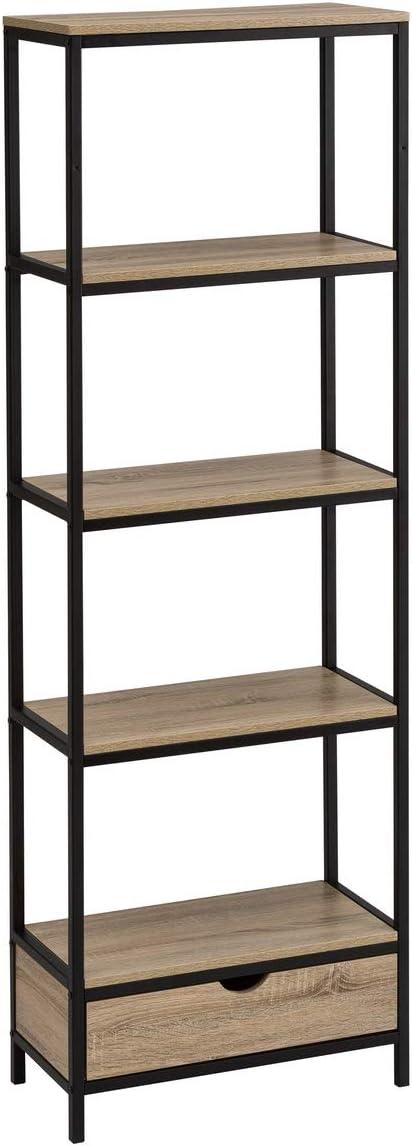Estantería con 1 cajón y 4 baldas de Acero Negra Moderna de 180x30x60 cm - LOLAhome