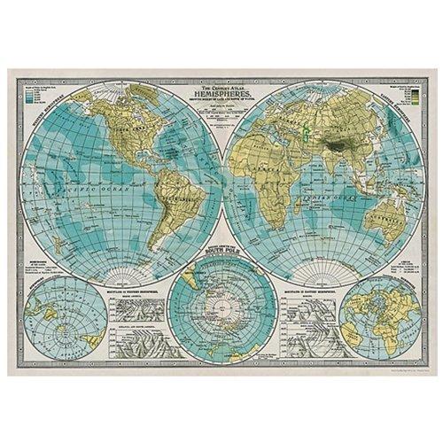 Cavallini Decorative Paper   Hemispheres Vintage Map 20 X28  Sheet