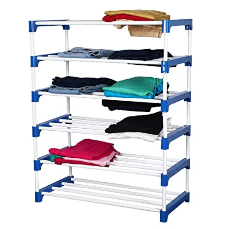 Meded Cgs Extra Strong Multipurpose Club 6 Tier Shoes, Clothes, Books & Utility Rack, Steel Frame