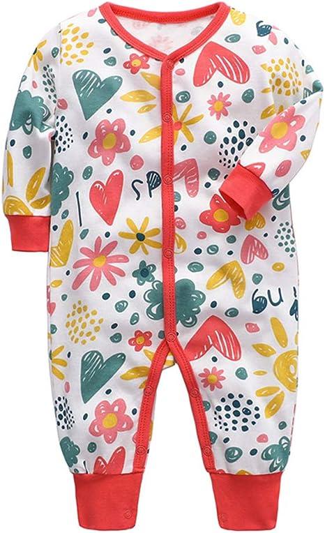 Babys Long Sleeve Romper,Red-Flower Jumpsuit Bodysuit Clothes