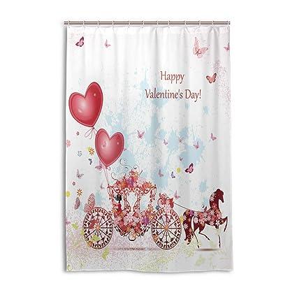Naanle Valentines Day Shower Curtain Home Decor Pink Floral Flower Butterflies Waterproof Mildew Resistant Polyester