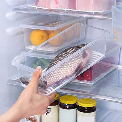 Buy Rd Mall Kitchen Fridge Organizer Vegetable Fish Fruit Storage Box With Lid And Removable Drain Plate Transparent Storage Box Food Container 1 Piece Online At Low Prices In India Amazon In
