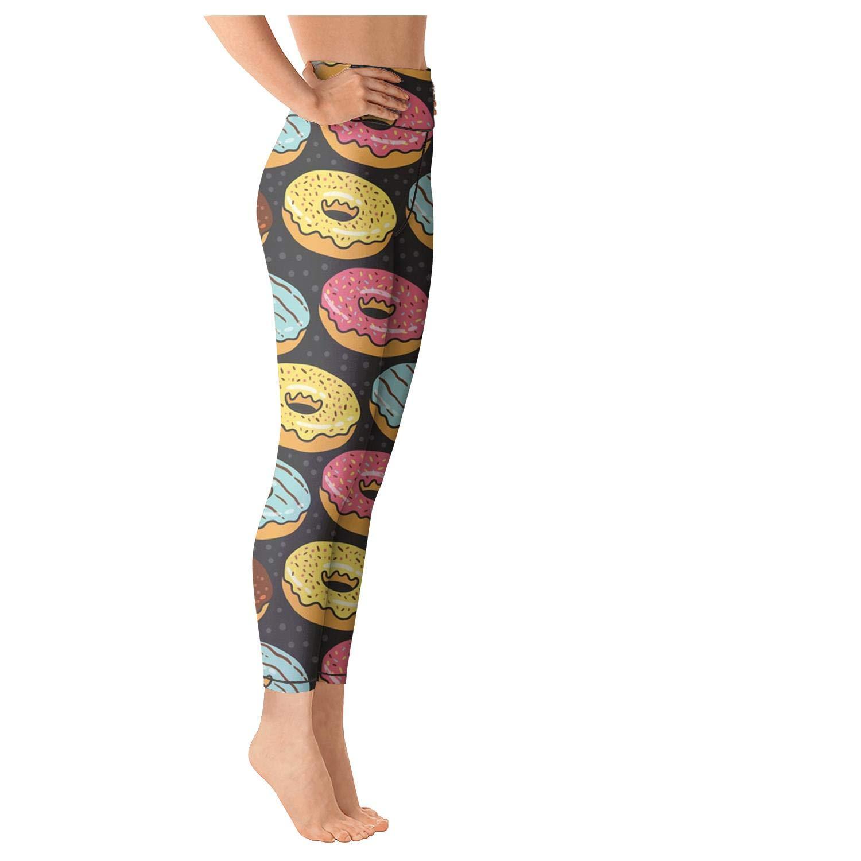 Junnanp Donut Sweet Dessert Yoga Pants for Women Girls Athletic High Waisted Leggings