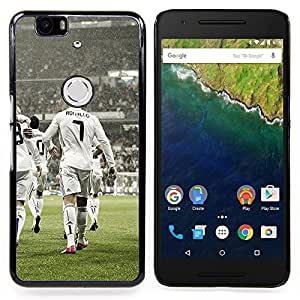 """Qstar Arte & diseño plástico duro Fundas Cover Cubre Hard Case Cover para Huawei Google Nexus 6P (Ronaldo 7"""")"""