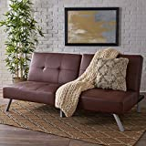 Cheap Great Deal Furniture Heston Brown Vinyl Click Clack Futon Sofa Bed