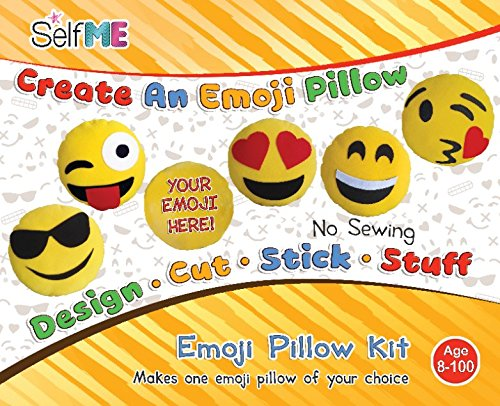 Image of the DADM Emoji pillow craft kit, for girls & boys, kids and adults, 32 cm, SelfMe crafts kit.