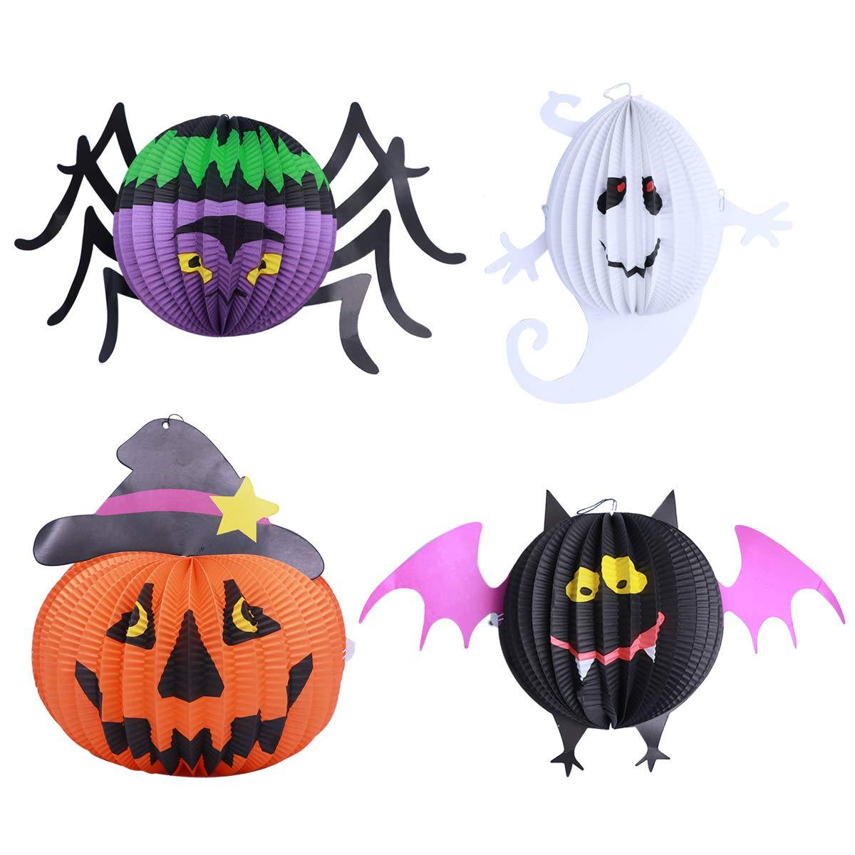 Frcolor fête d'Halloween lanternes de papier lanterne ronde LED citrouille araignée chauve-souris Forme de fantôme tentures 4pcs