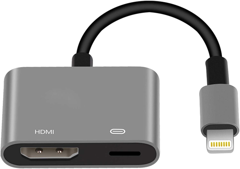Lightning to HDMI Adapter MFi Certified Lightning Digital AV Adapter SHARLLEN 1080P Digital Sync Screen Converter with Charging Port for iPhone/iPad/iPod HDMI Converter for HD TV/Projector/Monitor