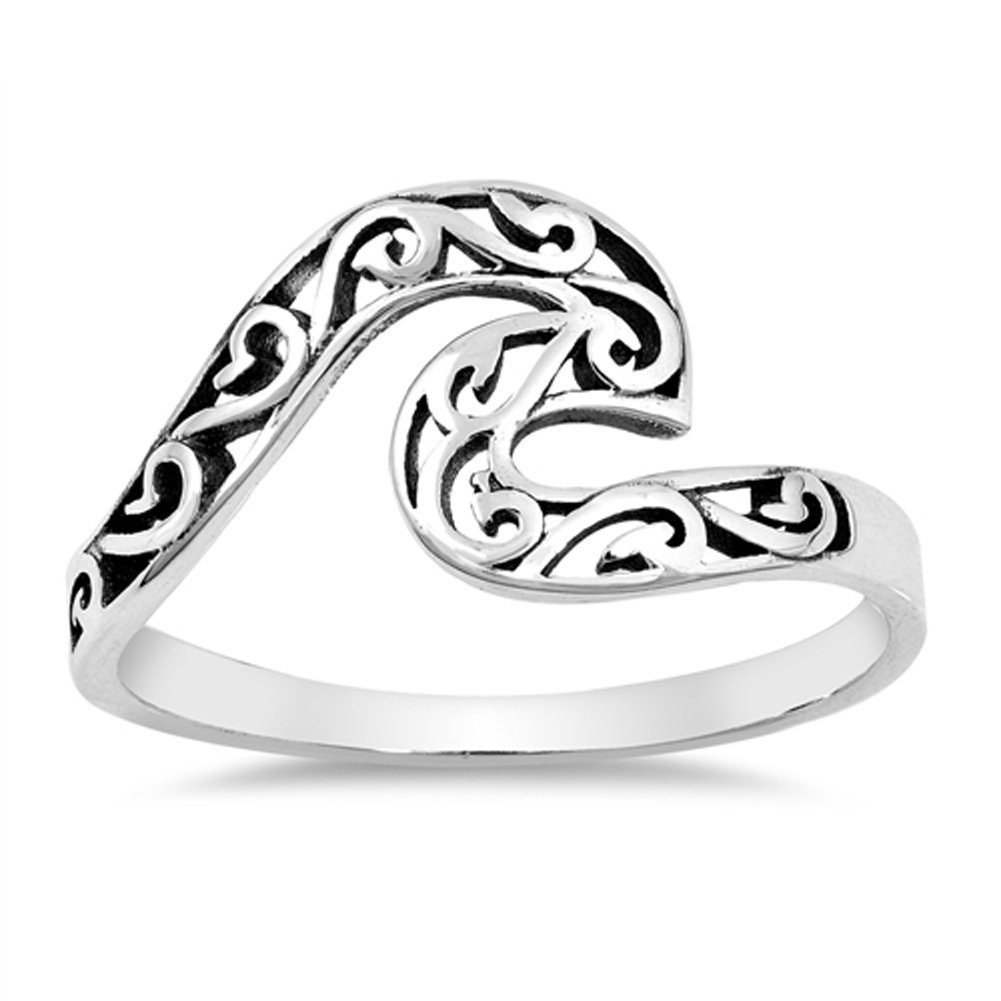 Oxidized Filigree Swirl Wave Ring .925 Sterling Silver Victorian Band Size 12