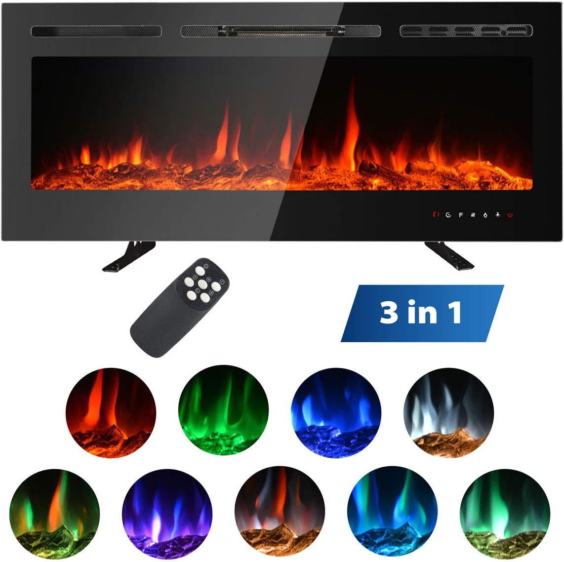 Faux Fire Log /& Crystal Options MAXXPRIME 40 Electric Fireplace Free Standing 9 Flamer Color 750//1500W Recessed and Wall Mounted Fireplace Insert Heater with Touch Screen Control Panel