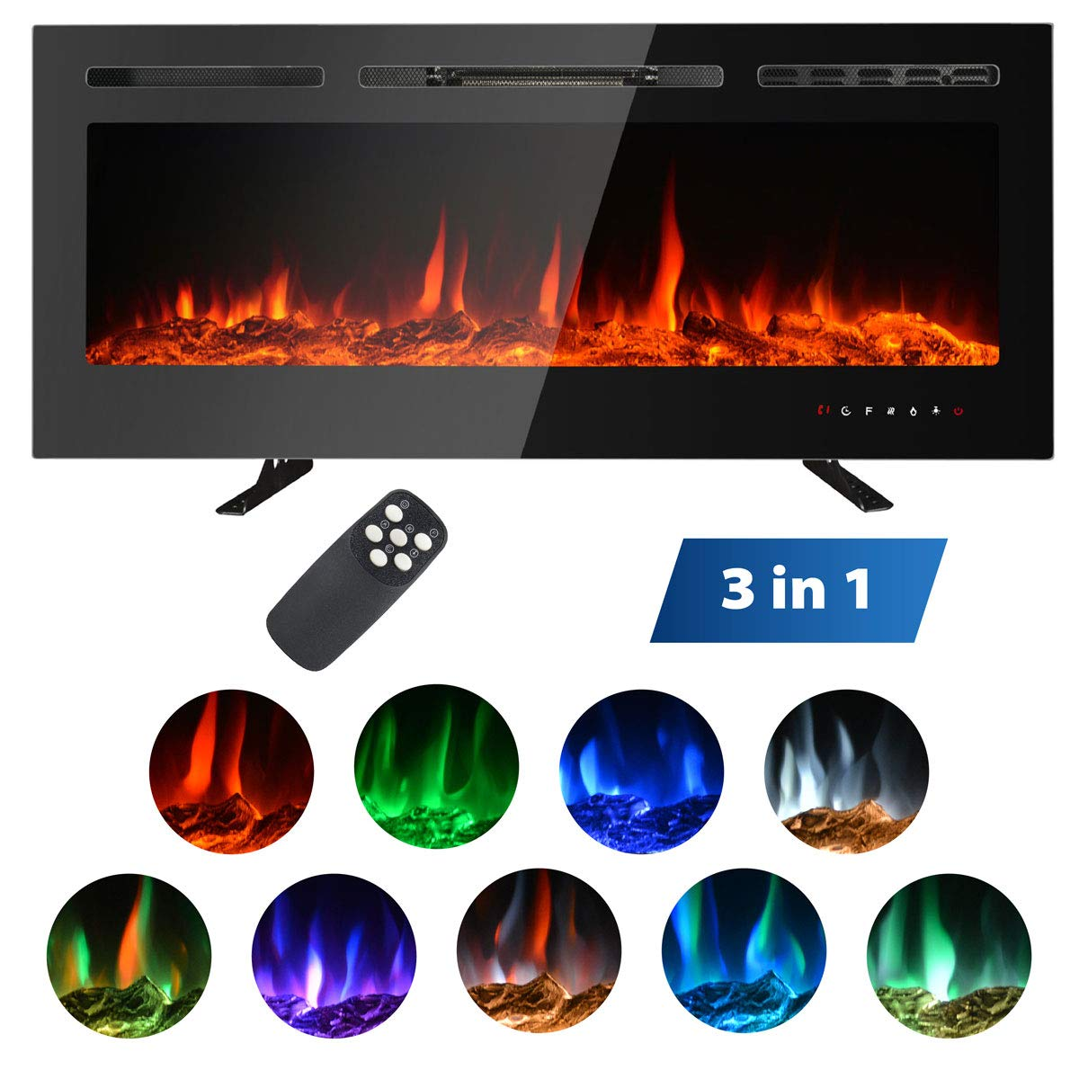 MAXXPRIME 50 Electric Fireplace Insert, Wall Mount, Freestanding in Wall Recessed Fireplace Heater with Remote Control and Touch Screen
