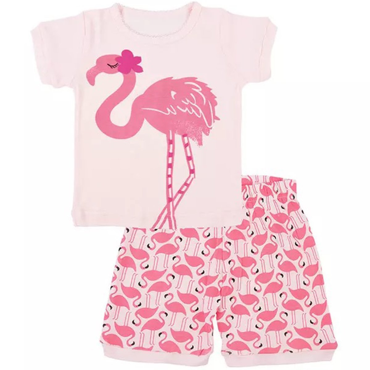 JAJADO Little Girls's Short Pajamas Cute Cotton Kids Toddler Summer Sleepwear Clothes PJS Sets Pink-Flamingo 12-24 Months