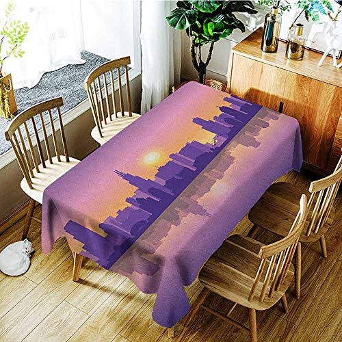 (XXANS Washable Tablecloth,Chicago Skyline,Sunset in Illinois American Horizon Behind High City Silhouettes,Party Decorations Table Cover Cloth,W60x84L Purple Apricot)