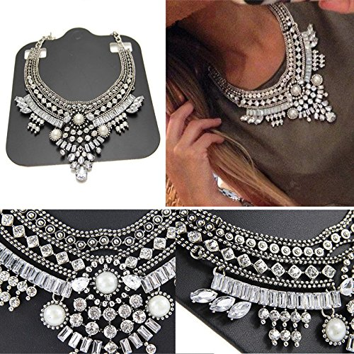ROOMZOOM Crystal Bib Statement Necklace Charm Pendant Chain Chunky Choker Bib
