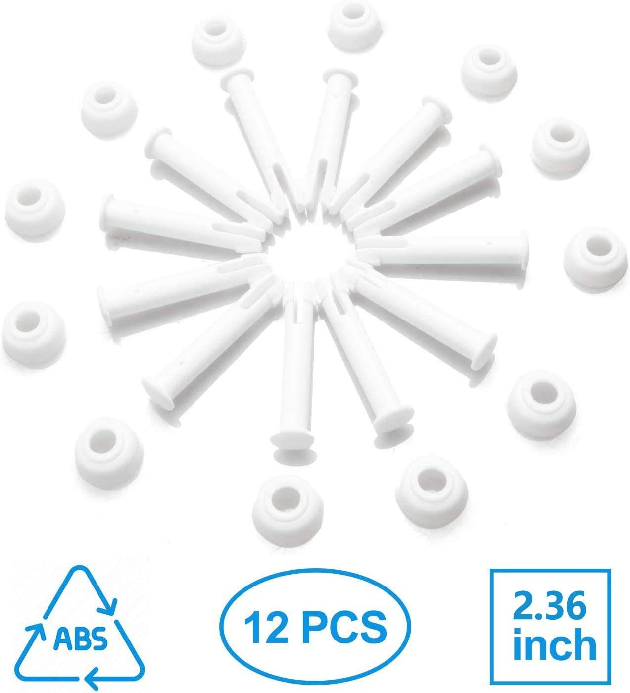Ponwec 12 PCS Plastic Pool Joint Pins 10312 (2.36in) for Intex 13ft -24ft (2015 & Before) 10ft-12ft (2016 & After) Metal & Prism Frame Pools with Extra Rubber Seals Pool Replacement Parts