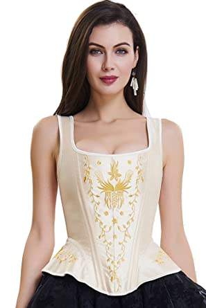2108b845c3 SZIVYSHI Women s Overbust Steel Boned Embroidery Lace Up Back Strap Corset  Bustier Top Size S-2XL at Amazon Women s Clothing store