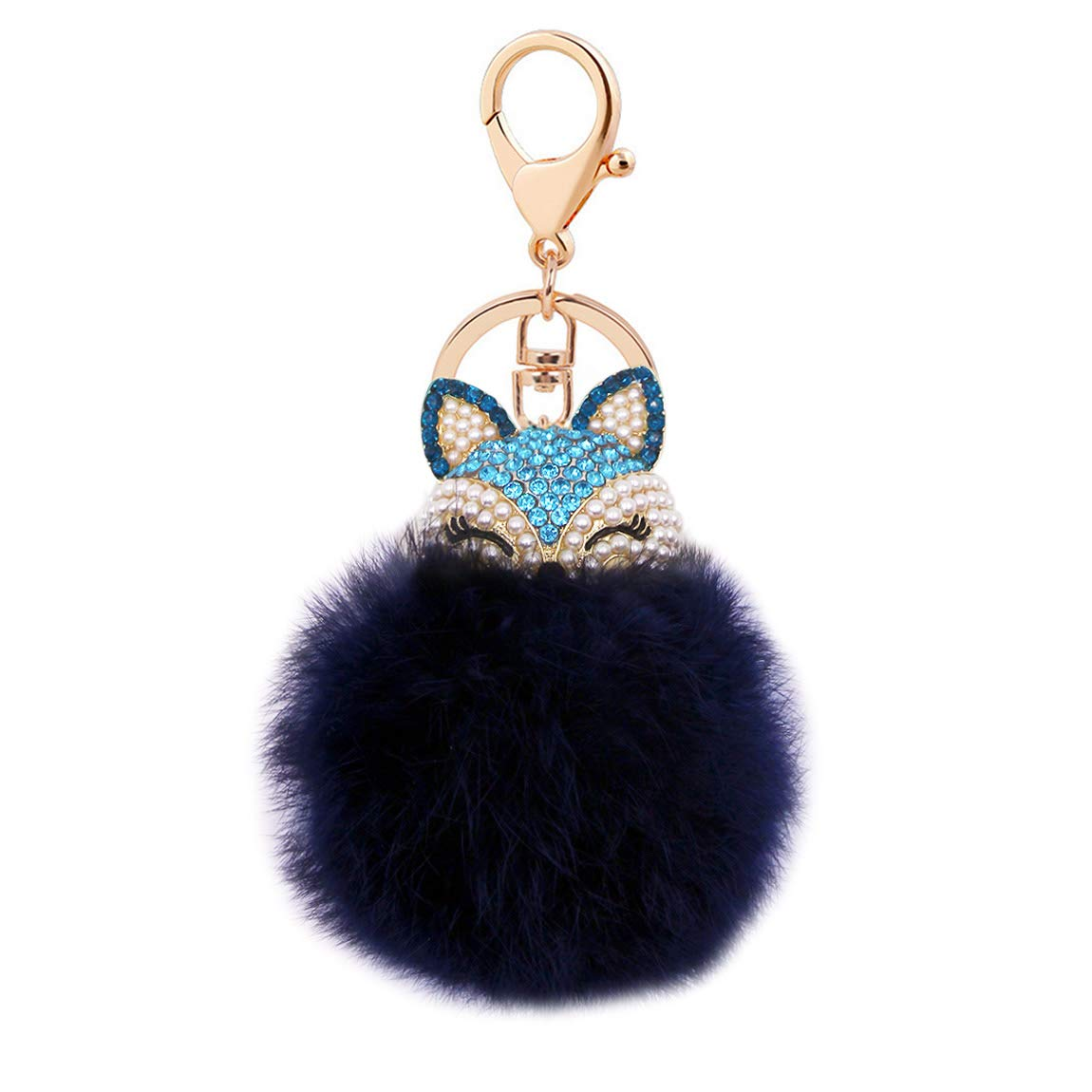 Cute Fox Diamond Keychain Soft Big Fluffy Ball Keyring Bag Decoration Creative Gift for Girls and Women(Blue)