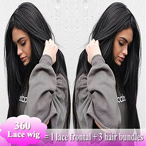 Glueless 360 Lace Frontal Wigs Silky Straight Human Hair Swiss Lace Front like Full Wigs 7A Brazilian Remy Virgin Hair With Baby Hair For Black Women (12'',Natural Black #1B, 130% Density) by Lady Fashion Mall