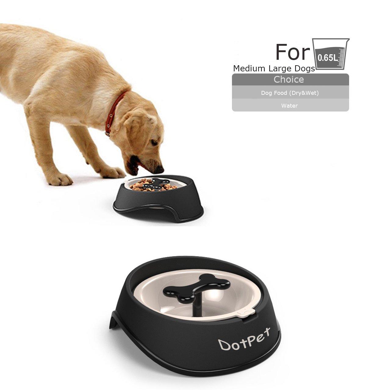 Slow Feeder Bone Bowl,DotPet Fun Interactive Feeder Bloat Stop Dog Bowl Bone Rotation Preventing Feeder Anti GulpingDrink Water Bowl Healthy Eating Diet For Puppy Dog Pet (DP-Black)