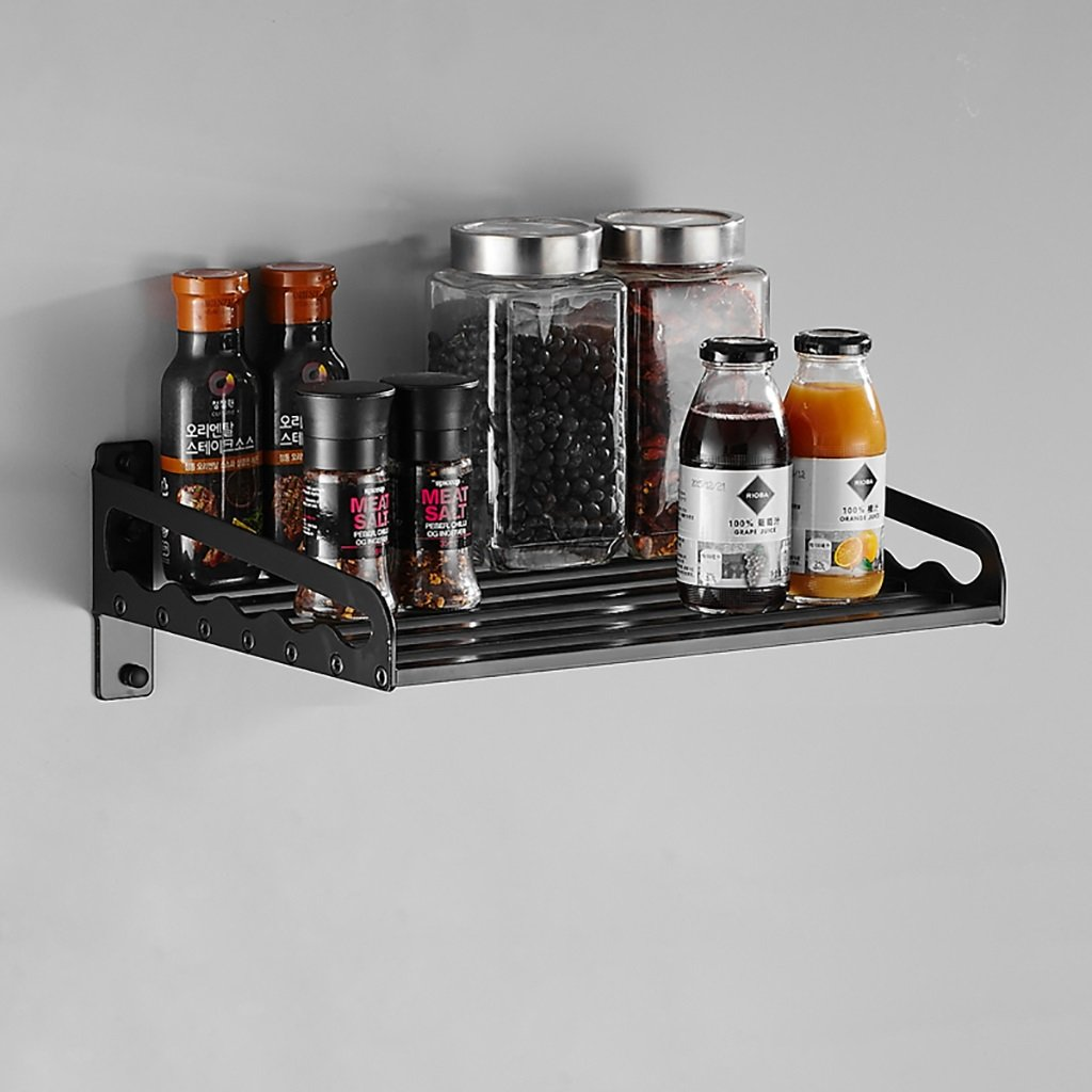 503515cm Kitchen Shelf Kitchen Storage Rack, Kitchen Wall Mounted Microwave Oven Rack Multifunction Aluminum Kitchen Spice Cooker Shelf Black Kitchen Storage Racks (Size   503515cm)