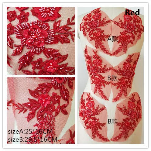 Hand Beaded Flower Sequence 3D Lace Applique Motif Sold by 3 Pairs Great for DIY Decorated Craft Sewing Costume Evening Bridal Top A6 (Red) -