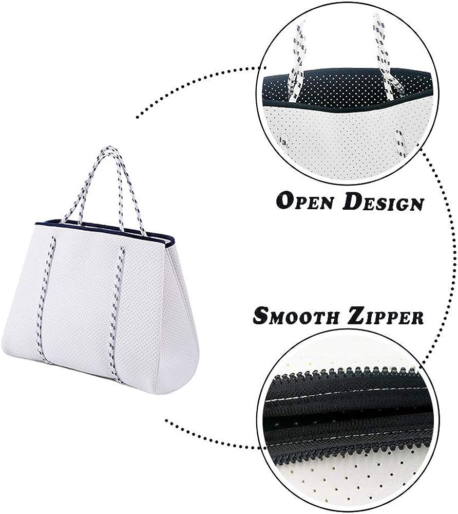 White Casual Diaper Shoulder Bag Gym Studio Magibag Neoprene Tote Beach Bag Travel