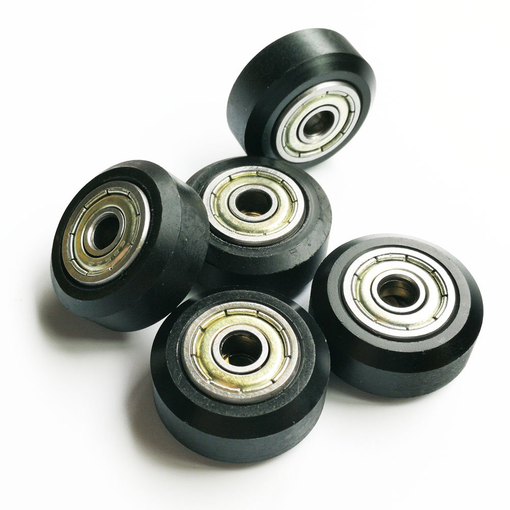 V Groove Ball Bearings Pulley Passive Round Wheels Roller Pack of 5 pcs Samje 3D Printer Big POM Models Plastic Pulley