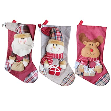 Reindeer Gift Bags Snowman Wellucky 3D Christmas Stockings Personalized XMas Stockings Set of 3 Santa Style A