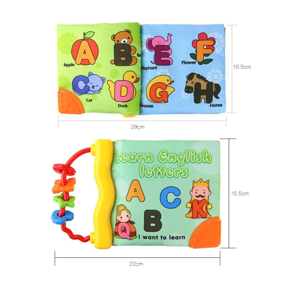 Baby Earlyears Tactile and Educational Non-toxic Cloth Soft Book-Teether Rings-Infant Learning toy English Letters A B C - Squeak, Rattle, Crinkle toddler Activity Gift by Tangomall (Image #1)
